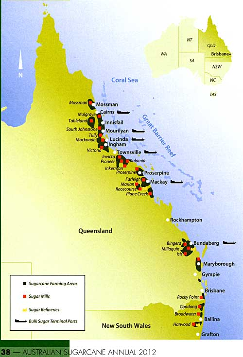 Australian sugar mills, refineries, etc. Map from 2012 Australian Sugarcane Annual